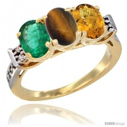 10K Yellow Gold Natural Emerald, Tiger Eye & Whisky Quartz Ring 3-Stone Oval 7x5 mm Diamond Accent