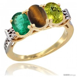 10K Yellow Gold Natural Emerald, Tiger Eye & Lemon Quartz Ring 3-Stone Oval 7x5 mm Diamond Accent
