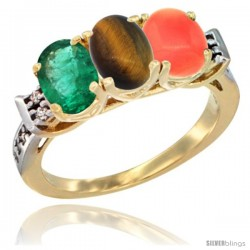 10K Yellow Gold Natural Emerald, Tiger Eye & Coral Ring 3-Stone Oval 7x5 mm Diamond Accent
