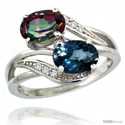 14k White Gold ( 8x6 mm ) Double Stone Engagement London Blue & Mystic Topaz Ring w/ 0.07 Carat Brilliant Cut Diamonds & 2.34