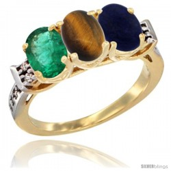 10K Yellow Gold Natural Emerald, Tiger Eye & Lapis Ring 3-Stone Oval 7x5 mm Diamond Accent