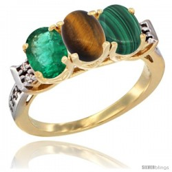 10K Yellow Gold Natural Emerald, Tiger Eye & Malachite Ring 3-Stone Oval 7x5 mm Diamond Accent