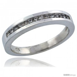 14k White Gold Ladies' Diamond Ring Band w/ 0.14 Carat Brilliant Cut Diamonds, 1/8 in. (3mm) wide -Style 14w925lb