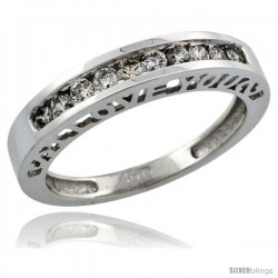 14k White Gold Ladies' Diamond Ring Band w/ 0.28 Carat Brilliant Cut Diamonds, 5/32 in. (4mm) wide