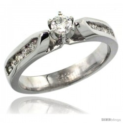 14k White Gold Diamond Engagement Ring w/ 0.45 Carat Brilliant Cut Diamonds, 5/32 in. (4mm) wide