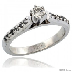 14k White Gold Diamond Engagement Ring w/ 0.38 Carat Brilliant Cut Diamonds, 1/8 in. (3mm) wide