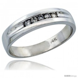 14k White Gold Men's Diamond Ring Band w/ 0.14 Carat Brilliant Cut Diamonds, 1/4 in. (6mm) wide
