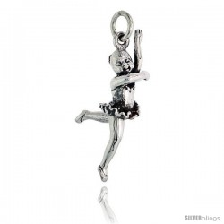 Sterling Silver Ballerina ( Attitude Leap Position ) Pendant, 1 1/8 in tall