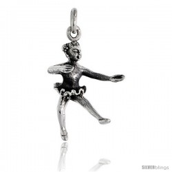 Sterling Silver Ballerina Pendant, 1 in tall -Style Pa2155