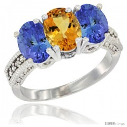 14K White Gold Natural Citrine Ring with Tanzanite 3-Stone 7x5 mm Oval Diamond Accent