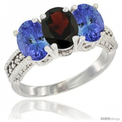 14K White Gold Natural Garnet Ring with Tanzanite 3-Stone 7x5 mm Oval Diamond Accent