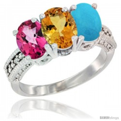 10K White Gold Natural Pink Topaz, Citrine & Turquoise Ring 3-Stone Oval 7x5 mm Diamond Accent