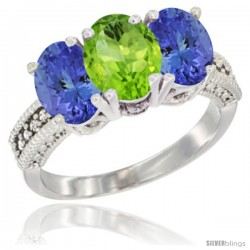 14K White Gold Natural Peridot Ring with Tanzanite 3-Stone 7x5 mm Oval Diamond Accent