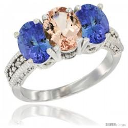 14K White Gold Natural Morganite Ring with Tanzanite 3-Stone 7x5 mm Oval Diamond Accent