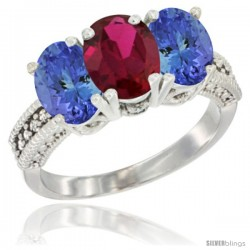 14K White Gold Natural Ruby Ring with Tanzanite 3-Stone 7x5 mm Oval Diamond Accent