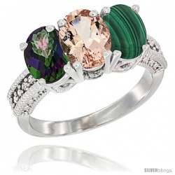 14K White Gold Natural Mystic Topaz, Morganite & Malachite Ring 3-Stone 7x5 mm Oval Diamond Accent