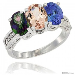 14K White Gold Natural Mystic Topaz, Morganite & Tanzanite Ring 3-Stone 7x5 mm Oval Diamond Accent
