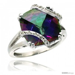 14k White Gold Diamond Mystic Topaz Ring 7.5 ct Cushion Cut 12 mm Stone, 1/2 in wide