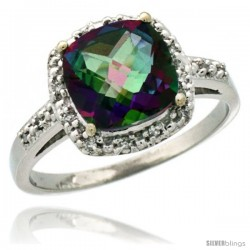 14k White Gold Diamond Mystic Topaz Ring 2.08 ct Cushion cut 8 mm Stone 1/2 in wide