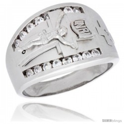 Sterling Silver Men's Jesus Christ Crucifix Ring Brilliant Cut Cubic Zirconia Stones, 15mm (9/16 in) wide