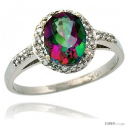 14k White Gold Diamond Mystic Topaz Ring Oval Stone 8x6 mm 1.17 ct 3/8 in wide