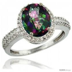 14k White Gold Diamond Mystic Topaz Ring Oval Stone 10x8 mm 2.4 ct 1/2 in wide