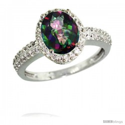 14k White Gold Diamond Mystic Topaz Ring Oval Stone 9x7 mm 1.76 ct 1/2 in wide