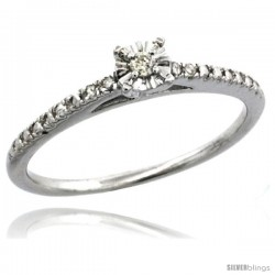Sterling Silver Diamond Solitaire Engagement Ring Rhodium Finish