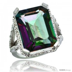 14k White Gold Diamond Mystic Topaz Ring 14.96 ct Emerald shape 18x13 Stone 13/16 in wide