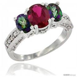 14k White Gold Ladies Oval Natural Ruby 3-Stone Ring with Mystic Topaz Sides Diamond Accent