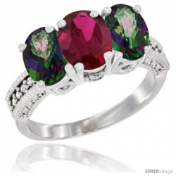 14K White Gold Natural Ruby & Mystic Topaz Ring 3-Stone 7x5 mm Oval Diamond Accent