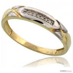 Gold Plated Sterling Silver Mens Diamond Wedding Band, 3/16 in wide