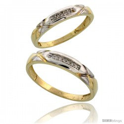 Gold Plated Sterling Silver Diamond 2 Piece Wedding Ring Set His 4mm & Hers 3.5mm