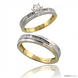 Gold Plated Sterling Silver 2-Piece Diamond Wedding Engagement Ring Set for Him & Her, 3mm & 5mm wide