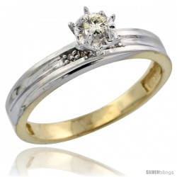 Gold Plated Sterling Silver Diamond Engagement Ring, 1/8 in wide -Style Agy104er