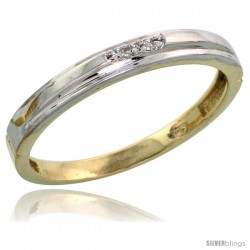 Gold Plated Sterling Silver Ladies Diamond Wedding Band, 1/8 in wide -Style Agy104lb
