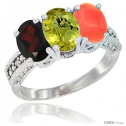 10K White Gold Natural Garnet, Lemon Quartz & Coral Ring 3-Stone Oval 7x5 mm Diamond Accent