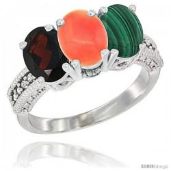 10K White Gold Natural Garnet, Coral & Malachite Ring 3-Stone Oval 7x5 mm Diamond Accent