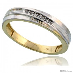 Gold Plated Sterling Silver Mens Diamond Wedding Band, 3/16 in wide -Style Agy104mb