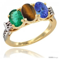10K Yellow Gold Natural Emerald, Tiger Eye & Tanzanite Ring 3-Stone Oval 7x5 mm Diamond Accent