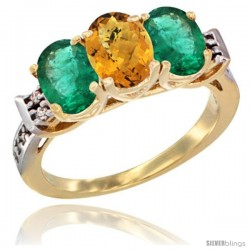 10K Yellow Gold Natural Whisky Quartz & Emerald Sides Ring 3-Stone Oval 7x5 mm Diamond Accent