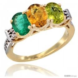 10K Yellow Gold Natural Emerald, Whisky Quartz & Lemon Quartz Ring 3-Stone Oval 7x5 mm Diamond Accent
