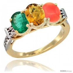 10K Yellow Gold Natural Emerald, Whisky Quartz & Coral Ring 3-Stone Oval 7x5 mm Diamond Accent