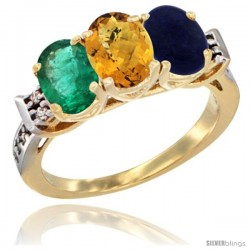 10K Yellow Gold Natural Emerald, Whisky Quartz & Lapis Ring 3-Stone Oval 7x5 mm Diamond Accent