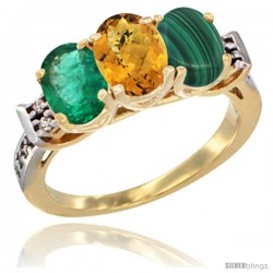 10K Yellow Gold Natural Emerald, Whisky Quartz & Malachite Ring 3-Stone Oval 7x5 mm Diamond Accent