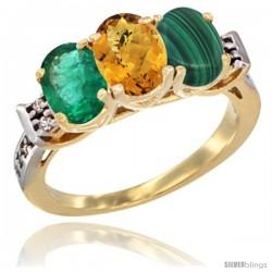 10K Yellow Gold Natural Emerald, Whisky Quartz & Malachite Ring 3-Stone Oval 7x5 mm Diamond Accent