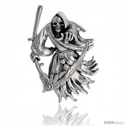 Sterling Silver Large Grim Reaper Pendant, 2 in tall
