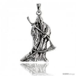Sterling Silver Grim Reaper Pendant, 1 1/4 in tall