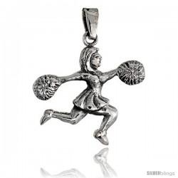 Sterling Silver Cheerleader w/ Pom-poms Pendant, 1 in tall
