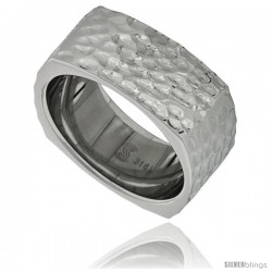 Surgical Steel Square 9 mm Wedding Band Ring Hammered Finish